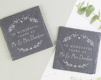Personalised Anniversary Gift Slate Coaster