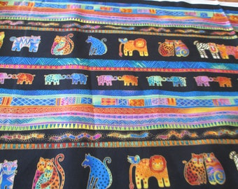 Quilting Weight Cotton Fabric Mythical Jungle Stripe on Black by Laurel Burch for Clothworks 1 yard