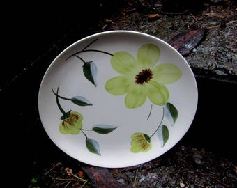 Blue ridge southern potteries green floral dinner plate