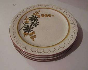"stangl golden blossom dessert or salad plates, 8-1/4"" wide, 4 0f them"