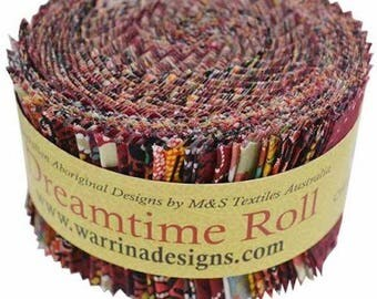 M & S Textiles, Aboriginal Prints, Dreamtime Jelly Roll Fabric Pack, Red