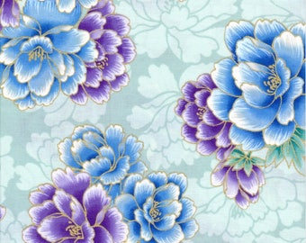 Robert Kaufman Fabric, Imperial Collection 13, Blue & Purple Flowers on Green with Metallic Accents