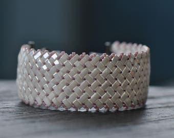 A sparkling Cream and Lanvender Herringbone Half Tila, Handmade, Beaded,Handwoven Cuff, Half Tila Bracelet,  Japenese Miyuki Half Tila
