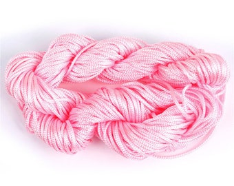 27 metre wire nylon braided cord 1 mm pink SKEIN, ref: FN02R