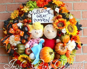 MADE TO ORDER Linus and Sally Waiting for the Great Pumpkin Wreath, Peanuts Halloween- Only 1 Available