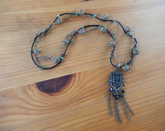 One of a Kind Handmade Beaded Necklace - Metal Pendant with Black Beads and Chains, Vintage Metal, Glass, Hippie, Boho, Gypsy