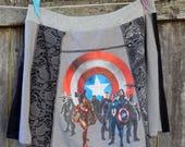 Upcycled Tshirts - Superhero Skirt - Captain America - Comics - Geek Attire - Women Ladies Teen Girls Clothing - Super Hero Theme Party
