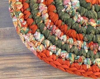 Rustic Country Farmhouse Decor - Oval Rag Rug - Forest Auburn Cinnamon Beige - Kitchen - Wedding Present - New Home Gift - Housewarming