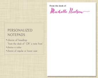 Personalized Teacher Notepad - Personalized Teacher Note Pad - from the desk of - a note from - MODERN CALLIGRAPHY -