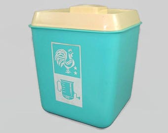 Turquoise Canister with Off White Cover Lid, Rooster and Sifter Design Plastic Cookie Jar