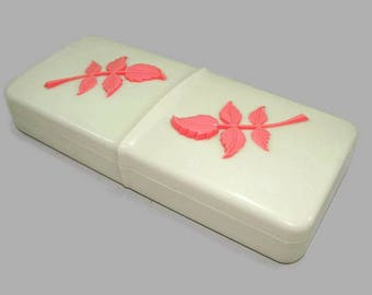 Vintage Off-White Plastic Covered Box with Coral Pink Leaves, Vintage Storage Box