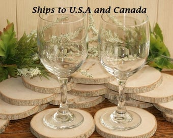 Ships To CANADA: Rustic Drink Wood Coasters-100 Maple Wooden Slices 3.5 to 4 inch Diameter 3/8 Thick Wood Tree Slices-Thick Coasters