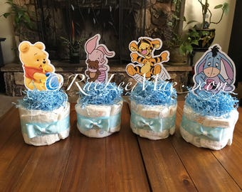 Winnie The Pooh Baby characters Diaper Cake Minis/baby Tigger/baby Eeyore/baby piglet/baby winnie the pooh baby shower decorations