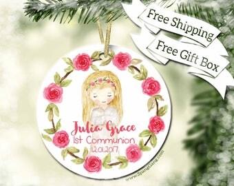 1st Communion Gift| Confirmation Gift | Catholic Sacrament | Personalized First Holy Communion Ornament | Religious Keepsake Gift | BC10