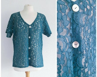 Vintage Teal Lace Blouse - Turquoise Sheer Shirt Top - Festival Grunge Boho 90s 80s