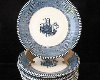 Currier and Ives Blue Steamboat Saucers Royal China USA Vintage 1950s Set of 8 Blue and White Saucers