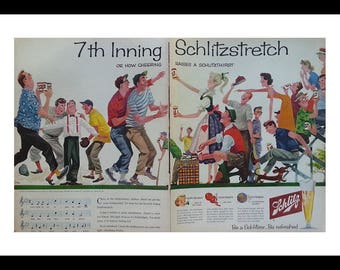 Illustrated Baseball Fans & Schlitz Beer.  50s Fun Man Cave or Cabin Art.  Parents Little League fights. 2 pages. Beer Ad. Ready Frame.