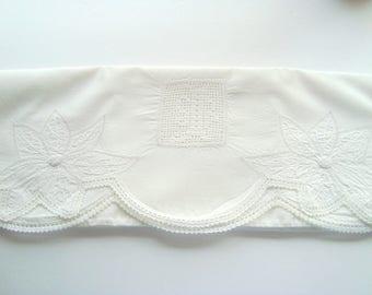 Vintage embroidered white on white pillowcase