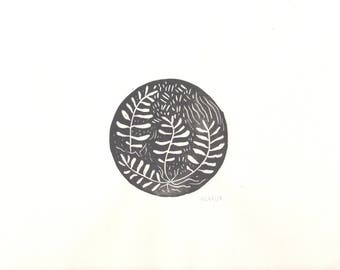 Fern Circle- modern black ink- 9x12 linoleum block print