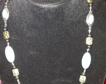 Turquoise, Black, and Silver Necklace