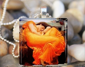 10% OFF JUNE SALE : Flaming June Frederick Leighton Art Painting Glass Tile Pendant Necklace Keyring