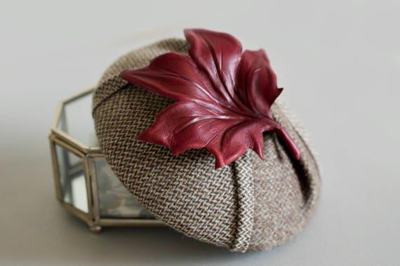 Tweed Cocktail Hat with Maple Leaf Brooch