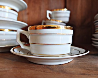 French coffee cups and saucers, 9 porcelain coffee cups, antique cups saucers, sugar bowl