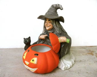 Vintage Halloween Figurine 1980's Witch With Pumpkin And Black Cat Dish Halloween Decor