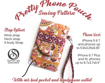 Phone Pouch sewing pattern. iPhone case, mobile phone wallet, iPhone cover PDF sewing pattern