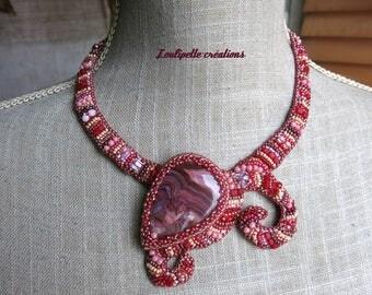 "Embroidered ""Raspberry Vanilla"" agate stone necklace"