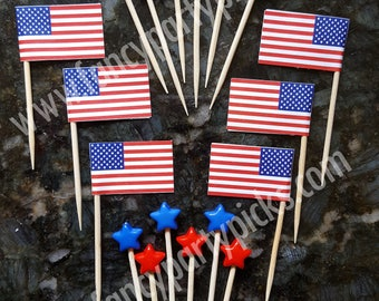 4th of July Party Picks, Fruit Picks, Party Toothpicks, Cupcake Topper, Cake Decoration, Appetizer Picks