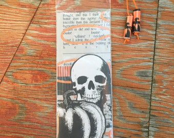 Skull and Pumpkin Handmade Bookmark with Paper Bead Tassel in Plastic Sleeve