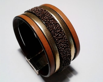 Gold Leather cuff and caviar chocolate with gold magnetic clasp