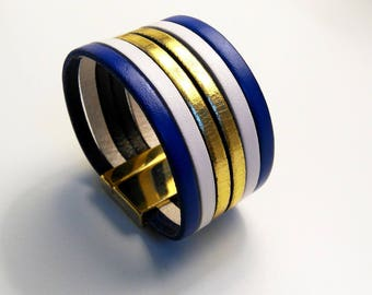 cobalt gold and white with gold magnetic clasp leather cuff