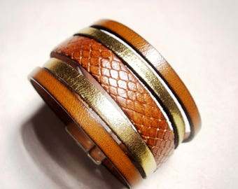 Whiskey lizard leather and gold cuff with clasp gold