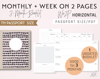PASSPORT Size Monthly-Week on 2 Pages Horizontal Printable Booklet Insert - Good for 3 Months - fits Traveler's Notebook Passport Size