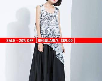 print chiffon dress, print chiffon tank, sleeveless dress, gray print dress, loose fitting dress, layered dress, tiered dress C1118