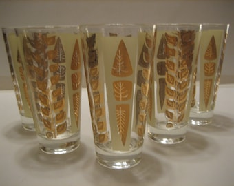 Mid Century Vintage Hi-Ball Glasses Signed Fred Press