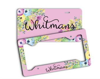 Custom monogrammed license plate, Pink and purple floral decoration for car Pretty accessories for vehicle Personalized gifts for her (1814)