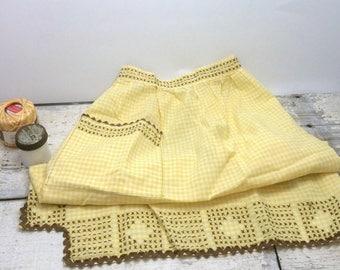 SUMMER SALE Vintage Handstitched Yellow Gingham Half Apron