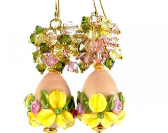 VANILLA - Vermeil handcrafed 14carats Pearl Earrings swarovski
