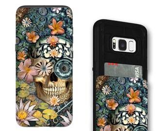 Floral Sugar Skull Galaxy S8 Card holder Case - Bali Botaniskull - Credit Card Case for Samsung Galaxy S8 with Rubber Sides by Da Vinci Case