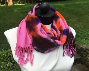NEW! Beautiful Tie Dye Pashmina Shawl, Tie Dye Pink, Orange, Brown, and Indigo Cashmere/Silk Pashmina, Boho Pashmina Scarf, Tie Dye Scarf