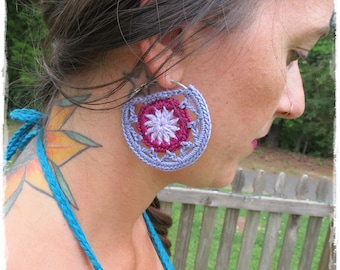 Crochet Hoop Earrings-Crochet Jewelry-Hoops-Crochet earrings-Boho Earrings