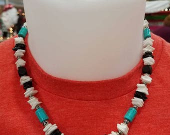 Men's Turquoise and White Necklace