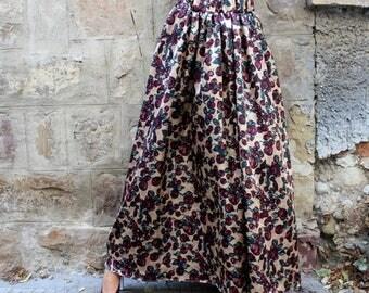 SALE ON 20 % OFF Floral Maxi Skirt / Long Skirt / Full Skirt / High Waisted Skirt / Maxi Skirt / Plus Size Skirt / Skirt with pockets