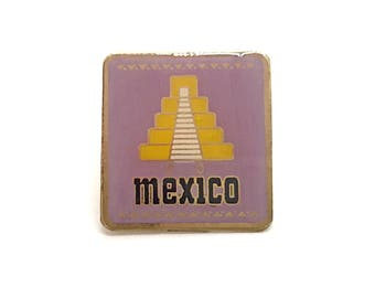 True Vintage Enamel Pin Aztec Pyramid from Mexico