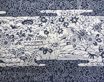 Floral Garden Vintage Japanese cotton kimono fabric