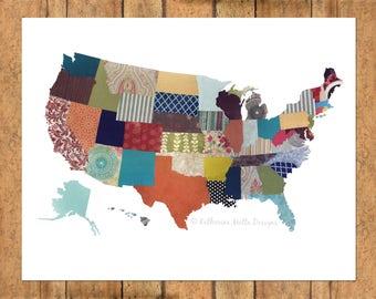 United States Collage - Horizontal Print