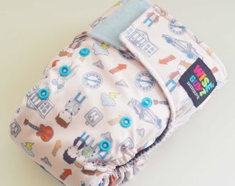Wise Guyz Back to the Future One Size Pocket/AI2 Cloth Diaper- Grey AWJ Lining